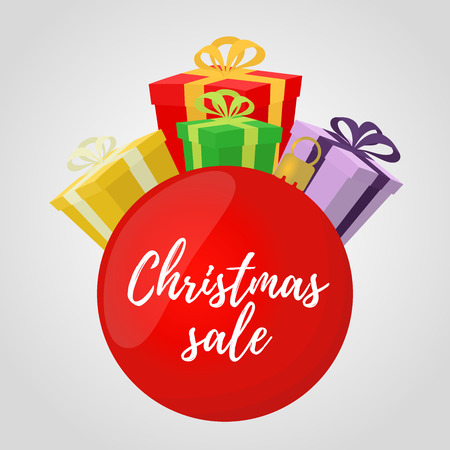 Vector Christmas sale - logo, icon for ad poster, banner. Red glass ball with gift boxes.