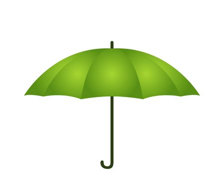 Vector green umbrella in cartoon flat style. Opened parasol for bad weather, rain or sun. Accessory for woman, symbol of safety, protection. 일러스트