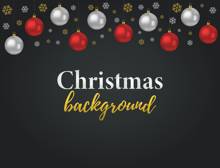 Vector Christmas background for sale, promo posters or ad banners. 3d realistic red, silver glass balls and golden snowflakes.