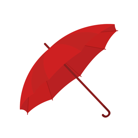 Vector red umbrella in cartoon flat style. Opened parasol for bad weather, rain or sun. Accessory for woman, symbol of safety, protection. Illustration