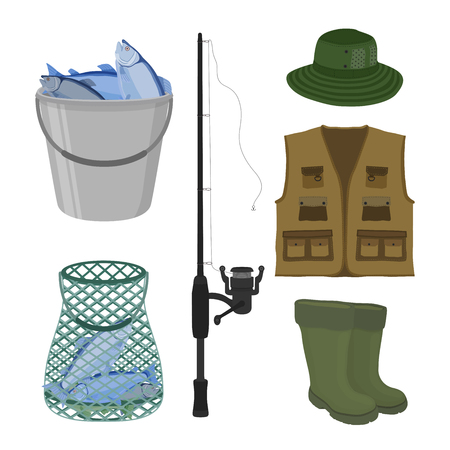 Vector cartoon collection for fishing. Fish-rod, rubber waterproof boots, sweep-net and bucket with catch. Fisher objects - protective gumboot, seine and jacket isolated on white background.