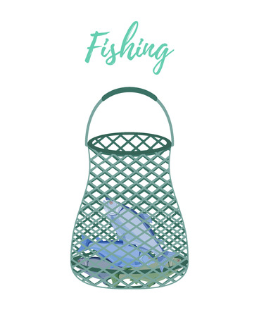 Vector cartoon fishnet with haul, scoop-net for fishing. Seine, dragnet with salmon isolated on white background.