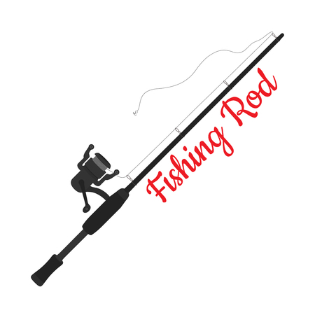 Vector cartoon fishing rod, device with hook, reel. Sport equipment for fishman. Spinning with tackle, stick isolated on white background.