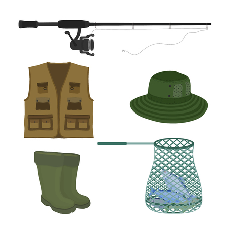 Vector cartoon collection for fishing. Fish-rod, rubber waterproof boots, sweep-net and vest. Fisher, hunter devices. Protective gumboot, seine and jacket isolated on white background.