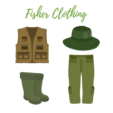 Vector cartoon clothing for fishing, hunting. Rubber waterproof boots, waders and vest. Fisher, hunter clothes. Protective gumboot, hat and jacket isolated on white background. Illustration