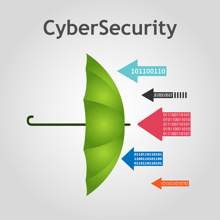 Vector cybersecurity concept - umbrella protects against the hacker attacks. Arrows with code, data. Safeguard concept. Illustration