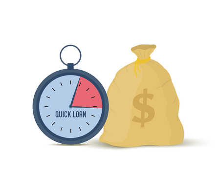 Vector illustration of quick loan - clock and money bag. Financial credit, dollars in cartoon sack, purse.