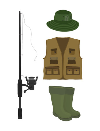Vector cartoon collection for fishing. Fish-rod, rubber waterproof boots, waders and vest. Fisher, hunter clothes. Protective gumboot, hat and jacket isolated on white background.
