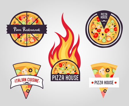 Vector collection of pizza labels. Restaurant, pizza house logos, icons. Italian cuisine Illustration