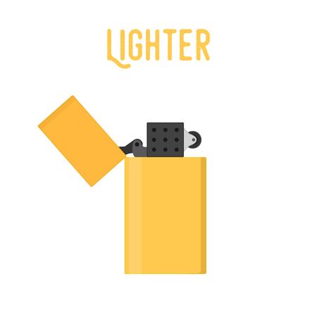 Vector cartoon metal lighter, smoking device in flat style. Classic, retro lighter