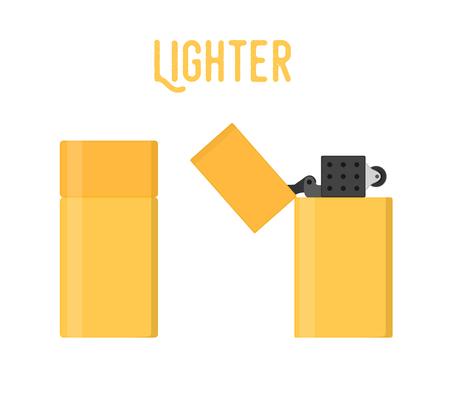 Vector cartoon lighter, smoking device. Classic, retro lighter