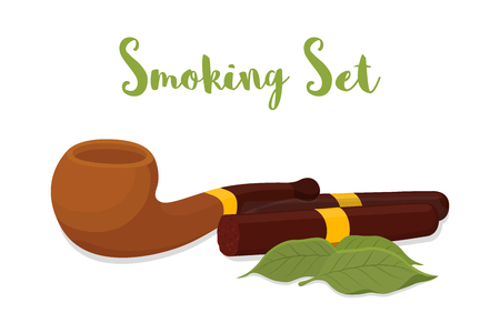 Vector pipe smoking with brown cigar, wooden device with gold element, classic mouthpiece for nicotine. Organic tobacco leaves. Unhealthy habit.