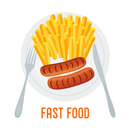 Vector illustration - sausage with fries, meat and english fried potato on grill, fork and knife. Fast food in cartoon style. Logo, template for banner, poster Illustration