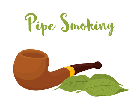 Vector pipe smoking, wooden device with gold element, classic mouthpiece for nicotine. Organic tobacco leaves. Unhealthy habit.