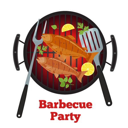 Vector illustration for barbecue party - salmon on grill, lemon and fork. Fried fish for picnic on hot fire in cartoon style.