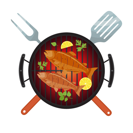 Vector illustration for barbecue party - salmon on grill, lemon and fork. Fried fish for picnic on hot fire in cartoon style. Logo, template for banner, poster