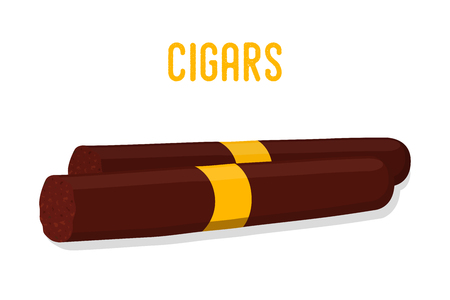 Vector cartoon brown cigar, tobacco smoking product. Cuban, Havana premium cigars with golden elements. Ilustrace