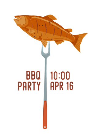 Vector invitation to barbecue party - salmon on fork. Fried fish for picnic with date of meal. Cartoon style. Illustration