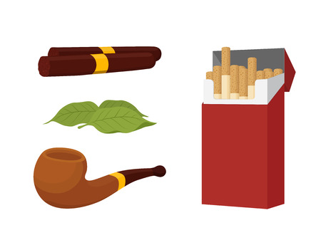 Vector cartoon set of smoking products, pack of cigarettes, cigar, tobacco leaf with smoking pipe. Bad habit. Illustration