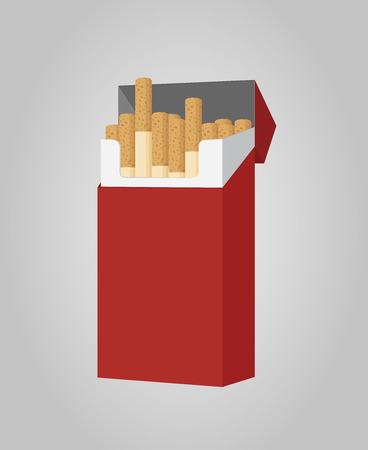 Vector cartoon pack of cigarettes, open packaging with smoking product. Nicotine addiction, bad habit concept. Иллюстрация