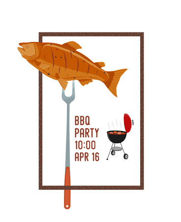 Vector barbecue party invitation, fried fish on fork, cartoon concept. Banner, poster