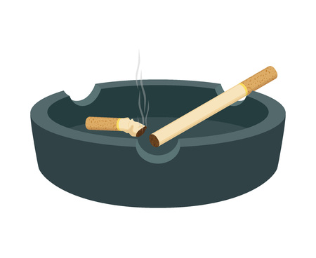 Vector ashtray with cigarettes, smoked butt, stub