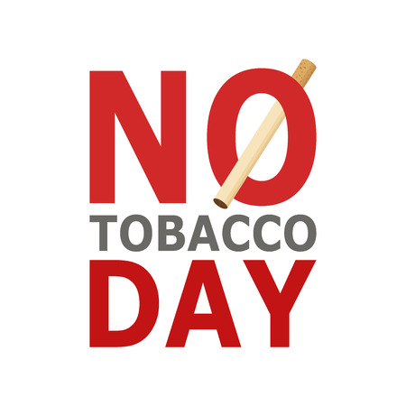 Vector illustration of World No Tobacco Day, the 31st of May. Medical poster, advertising banner against bad habit, cancer awareness.