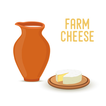Vector farm product - natural cheese with milk in earthenware, jug. Organic nutrition in cartoon flat style. Illustration