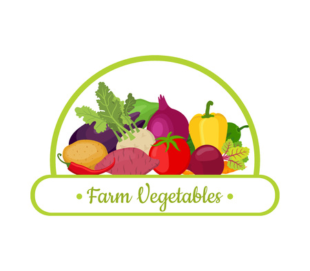 Vector collection of farm vegetables, logo of harvest product