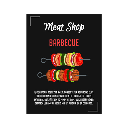 Vector kebab - meat on skewer. Poster, banner with beef and vegetables