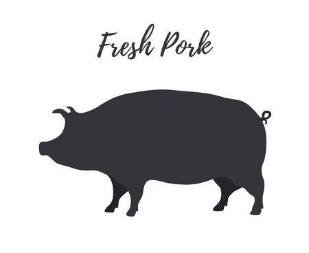 Vector dark silhouette of farm pig, fresh pork