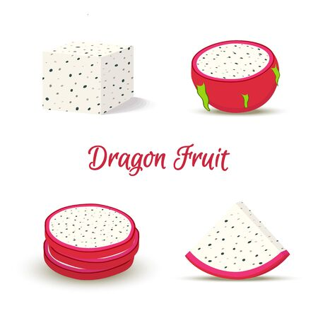 Vector tropical dragon fruit, pitaya in slices. 일러스트