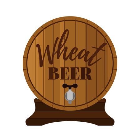 Vector wooden barrel with engraving - beer label for Octoberfest, restaurants or craft brewery. Alcohol drink in cartoon flat style. 일러스트
