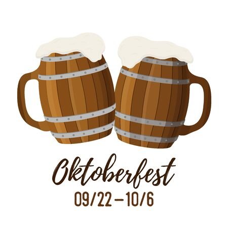 Oktoberfest concept, two wooden tankards, mug and cup