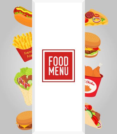 Vector fastfood menu template. Takeaway restaurant banner, frlyer.