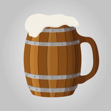Vector Oktoberfest illustration, wooden tankard, traditional mug and cup. Pub, brewery design