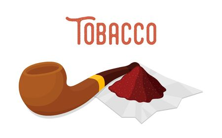 Vector smoking set - wooden pipe with pinch, heap of melted tobacco leaf on paper. Cartoon flat style