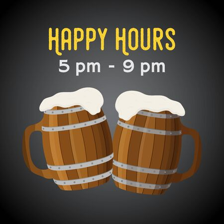 Vector happy hours - beer coupon, ad poster with wooden barrels 일러스트