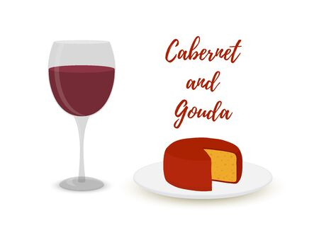 Vector cabernet with gouda, cartoon flat style