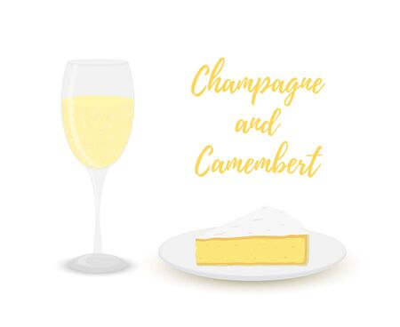 Vector champagne with camembert, glass with alcohol and dairy product. Çizim