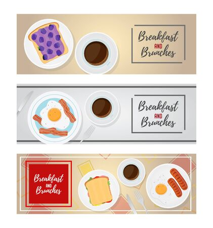 Vector breakfast ad posters, promo banners with food