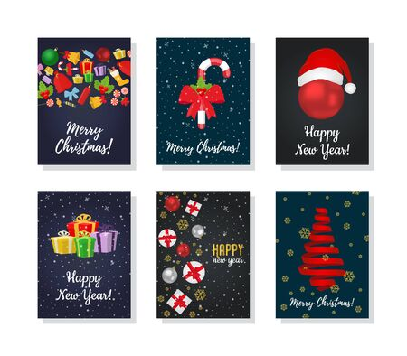 Vector Christmas post cards with gift, tree, sweet candies, ribbons and realistic ball. Decorative posters, banners. 일러스트