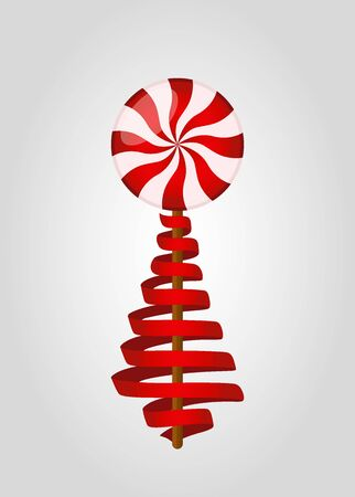 Vector Christmas treat in red ribbon - lollipop with decorative red line, sweet candy.