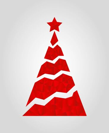 Vector Christmas tree in polygonal form. Decorative red triangles for invitation, celebration card.