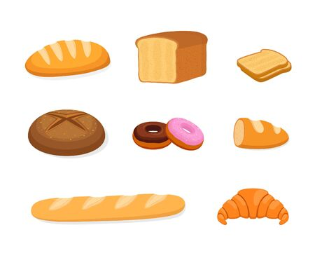 Vector bakery set - bun, rye and cereal bread, baguette and loaf. Cartoon dough products, croissant and donut. Ilustracja