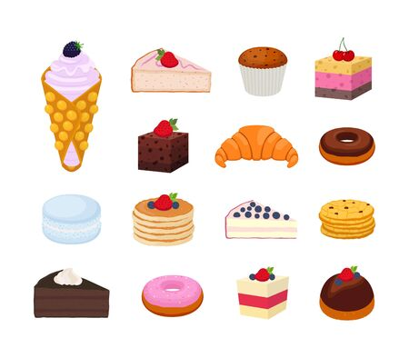 Vector sweet pastry set, collection of tasty cheesecake, croissant, pie, donut and others. Confectionery with berries, chocolate. Muffin, brownie and cookies.