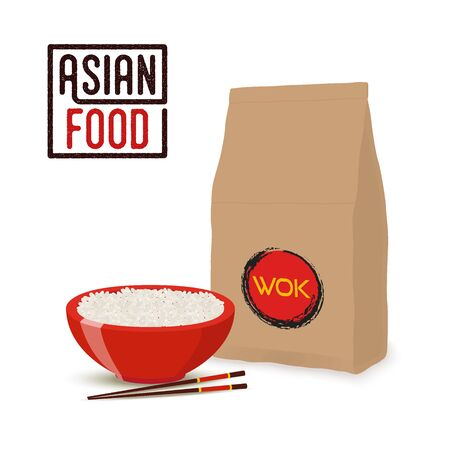 Vector Asian food concept - Chinese or Japanese cuisine, rice in box for restaurant, cafe. Ramen dinner. Cartoon flat style.