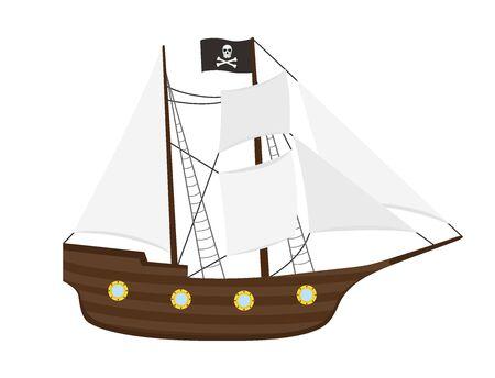 Vector pirate ship with sails, frigate or galleon on white Ilustração Vetorial