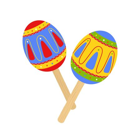 Vector Mexican traditional maracas, musical instrument
