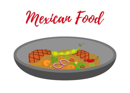 Vector Mexican traditional soup - pozole in frying pan, meat with vegetables, spicy meal. Cartoon flat style.